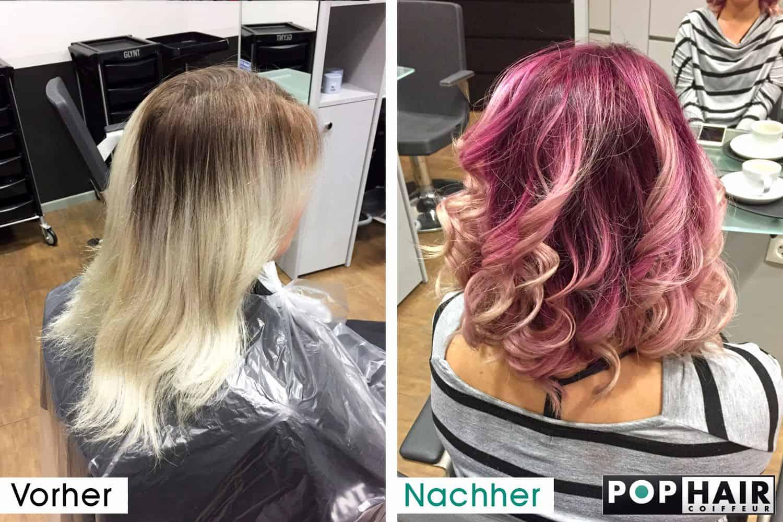 Haar mit violetten Farbreflexen vorher-nachher
