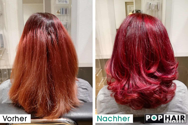 Dunkelroter Ansatz und heller rote Spitzen vorher-nachher