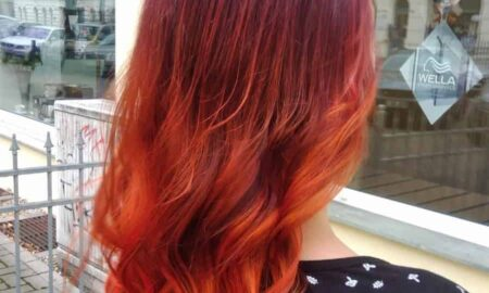"Herbstliches Balayage in ""Bordeaux""-Rot"